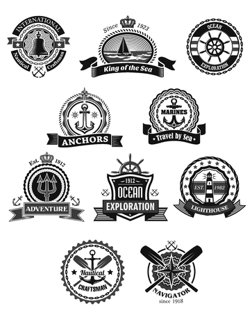 Nautical and marine heraldic badge set. Anchor, sea ship, helm, sailing boat, lighthouse, compass rose, ship bell and paddle, framed by rope, chain, shield and lifebuoy with ribbon banner