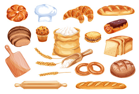 Bread watercolor icon of wheat food product. Loaf of rye and wheat bread, french baguette and croissant, cake, cupcake and toast, cookie, bun and bagel, flour bag, baker hat and wooden rolling pin