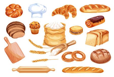 Icono de acuarela de pan de producto alimenticio de trigo. Hogaza de pan de centeno y trigo, baguette francés y croissant, pastel, magdalenas y tostadas, galleta, bollo y bagel, bolsa de harina, gorro de panadero y rodillo de madera