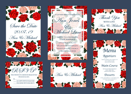 Save The Date invitation cards and wedding or engagement party celebration menu design. Vector bride and bridegroom names for wedding ceremony of roses flowers in frames Иллюстрация