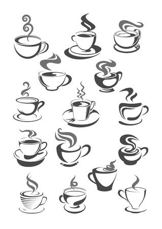 Café, cafétéria ou tasses de café icônes vectorielles ou modèles définis pour le menu ou le signe. Symboles de vecteur de tasse de chocolat chaud, tasse à expresso forte ou latte macchiato et americano frappe pour café