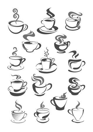 Coffee house, cafeteria or cafe cups vector icons or templates set for menu or sign. Vector symbols of hot chocolate mug, strong espresso cup or latte macchiato and americano frappe for coffee shop Illustration