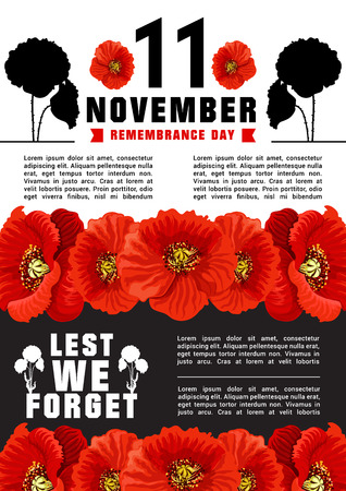 Vector poster for 11 of November, World Remembrance day. Flowers of puppy as symbol of tragic and memory of killed soldiers. Creative design in tragic colors red, black and white. Poster with white and black background Standard-Bild - 112276111