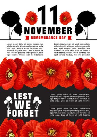 Vector poster voor 11 november, Wereldherdenkingsdag. Bloemen van puppy als symbool van tragisch en herinnering aan gedode soldaten. Creatief ontwerp in tragische kleuren rood, zwart en wit. Poster met witte en zwarte achtergrond