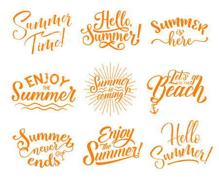 Hello Summer hand drawn lettering icon set for greeting card design. Summer Season Holidays celebration calligraphy text with sun beam, sea water wave and cocktail for beach party invitation template