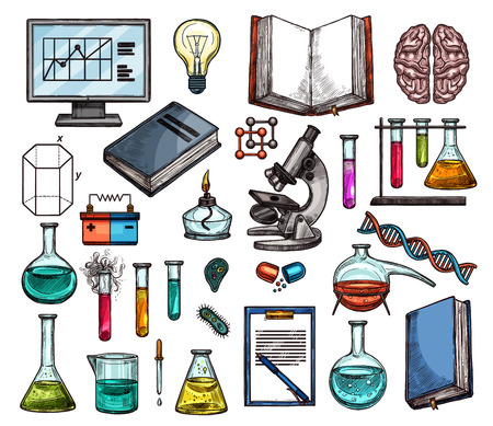 Science and laboratory research sketches. Chemical experiment equipment and tool icons with test tube, microscope, flask and beaker, medicine and biology book, computer and brain, DNA and light bulb