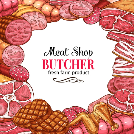 Meat shop poster with frame of fresh meat product and sausage sketch. Beef steak, pork brisket and ham, salami, bacon and frankfurter, grilled burger, chicken wing and leg with copy space in center Illustration