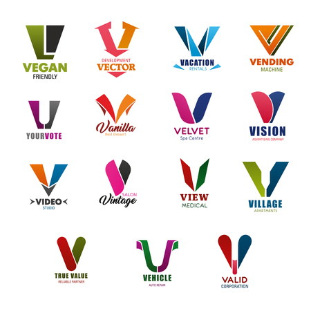 Letter V icons for business in technology, banking and commerce industry. Vector symbols of letter V for vegan food, medical clinic or trade and investment corporation