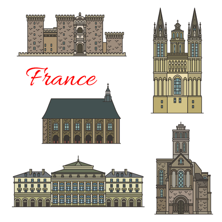 French travel landmark icons set of historical and religious tourist sight. Church of St Trinite, Abbey of Ronceray and Angers Castle, St Maurice Cathedral and Rouen Opera House