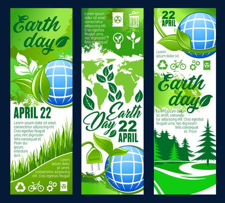 Banner de invitación de celebración del día de la tierra con planeta ecológico y hoja verde. Cartel de ecología y protección del medio ambiente del globo, árbol de la naturaleza biológica y turbina eólica de energía verde, reciclaje, signo de transporte ecológico