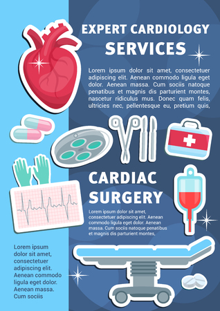Cardiology medicine poster for heart health clinic and medical surgery. Vector design of cardiologist operating table, blood dropper or syringe and treatment pills with cardiogram Ilustracja