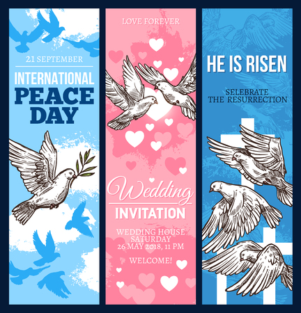 Wedding invitation, Easter religion holiday greeting card and World Peace Day banner with dove of peace. White pigeon bird sketch flyer with olive branch, heart and crucifix for festive design