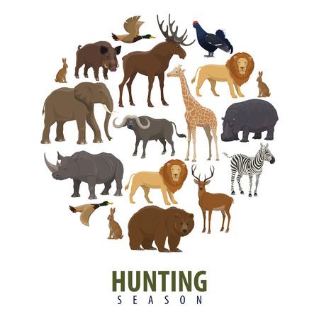 Affiche de chasse aux animaux sauvages. Conception de vecteur d'éléphant, de zèbre ou d'ours sauvage et de canard de la forêt, de porc aper avec hippopotame, de lion ou de buffle et de lièvre avec tétras pour la chasse au safari africain