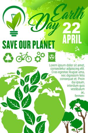 Affiche du Jour de la Terre et Save Planet pour la célébration des vacances d'écologie. Globe terrestre avec feuille verte et arbre en forme de carte du monde, recyclage, énergie verte et signe de transport écologique pour concept écologique