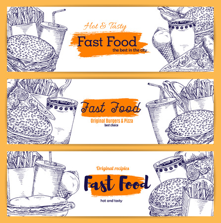 Fast food sandwiches, burgers and desserts vector sketch banners of hot dog hamburger and cheeseburger, french fries and pizza, ice cream and coffee or soda drink for delivery or takeaway menu