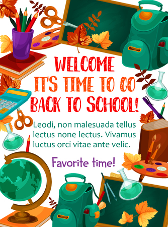 Welcome Back to School poster of chemistry book, pencil and September autumn maple leaf on chalkboard. Vector school bag, geography globe or algebra calculator and biology magnifier and notebook Illustration