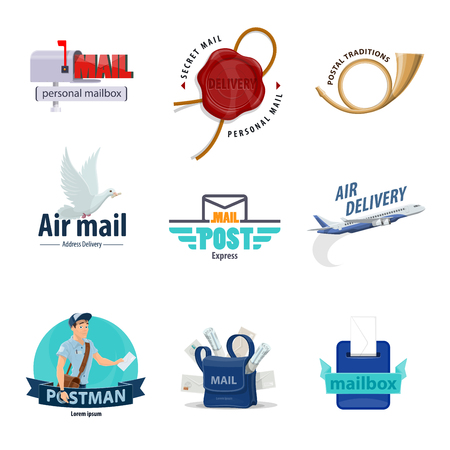 Post service icon set for mail delivery themes design. Mailbox, letter envelope and postman, postbox, postal horn and mailman bag with correspondence, postal wax seal, airmail plane and pigeon symbol Archivio Fotografico - 112276140
