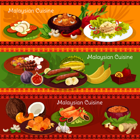 Malaysian cuisine banners for asian restaurant design. Chicken and beef curry with vegetable rice, grilled fish and chicken with bean sprout salad and peanut sauce, meat roll and banana dessert