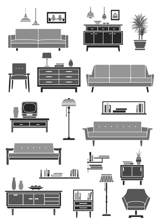 Home furniture and living room interior accessories icon set. Chair, sofa, armchair, table, lamp, cabinet, bookshelf, chest of drawers, vase and pictures. Home furnishing and interior design Illustration