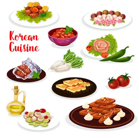 Ikona obiad kuchni koreańskiej z daniem z owoców morza i warzyw. Pikantna marynowana rzodkiew i ryba, sałatka z owoców morza i ciasteczko imbirowe, warzywny omlet jajeczny, pieczony pstrąg i węgorz, słodycze i ciasto