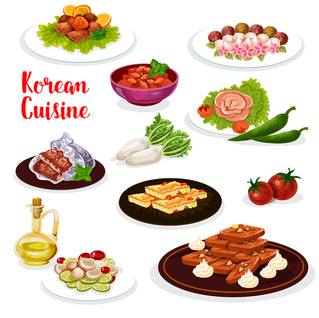 Korean cuisine dinner icon with seafood and vegetable dish. Spicy marinated radish and fish, seafood vegetable salad and ginger cookie, vegetable egg omelette, baked trout and eel, sweets and cake Ilustração