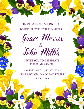Wedding ceremony invitation card template with festive flower bouquet. Floral banner with frame of spring crocus, jasmine and pansy, calla lily and blooming plant for wedding or bridal shower design