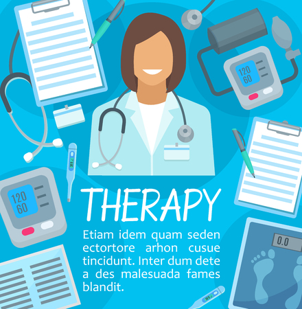 Medical therapy poster for hospital or clinic design. Vector doctor or nurse with medical items of X-ray, stethoscope or blood pressure meter and thermometer for healthcare center
