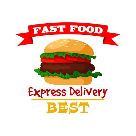 Icona di hamburger. Emblema di hamburger fast food di panino al sesamo croccante, cotoletta di carne fresca e lattuga di verdure. Simbolo di pasto fast food isolato vettore con nastro per segno di fast food o menu da asporto o consegna