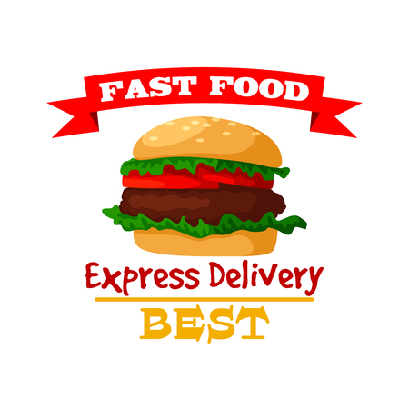 Hamburger icon. Fast food burger emblem of crispy sesame bun, fresh meat cutlet and vegetables lettuce. Vector isolated fast food meal symbol with ribbon for fast food sign or takeaway menu or delivery Illustration