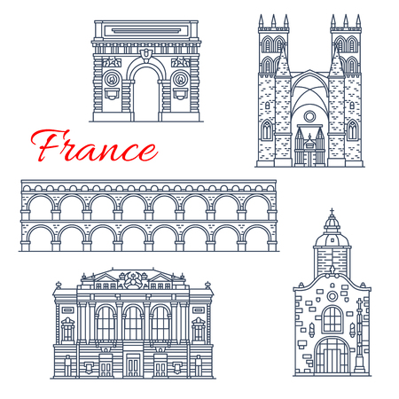 France landmarks and famous historic architecture buildings of Montpellier. Vector thin line facades icons of If Saint Aurelien chapel, Triumphal Arch or Opera, Aqueduct and Saint Pierre Cathedral