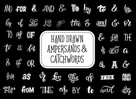 Ampersands and catchwords lettering icons. Vector isolated calligraphy letters and prepositions words of the, by or with and for or to for creative font art design and calligraphic greeting cards