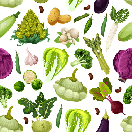 Vegetables pattern of zucchini squash and asparagus, beet and red cabbage, brussels sprouts and romanesco broccoli, potato, garlic and eggplant, mushroom champignon, bean or pea. Vector seamless backg
