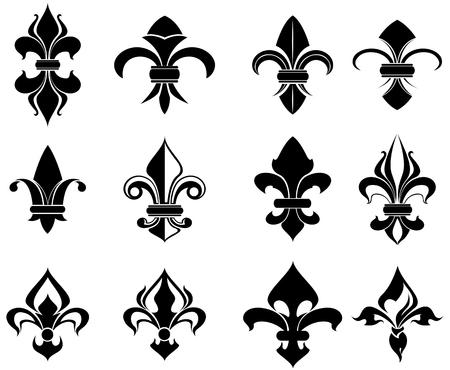 Symboles royaux de lys français pour la conception et la décoration Vecteurs