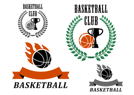 Basketball game emblems and symbols with fire flames, laurel wreath and trophy club Illustration