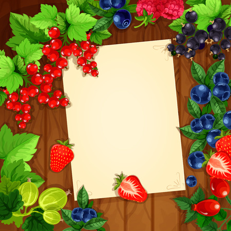 Message blank page note design of berries on wooden background. Vector bunches of strawberry, cherry and raspberry,  and blueberry, black currant or red currant, gooseberry and briar. Poster for message notes or recipe for kitchen Illustration