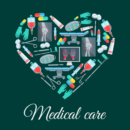 Medicine heart poster medical care items and tools. Vector surgery medications and instruments, human knee and hands X-ray, surgeon table and lamp, scalpel and syringe, crutch and gloves, pill drugs capsules, blood dropper, ointment and scissors Ilustracja