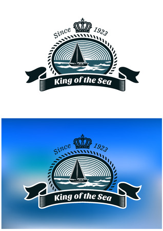 Emblem of the royal yacht club with yacht in sea, round rope frame, king crown and text King of the Sea Illustration