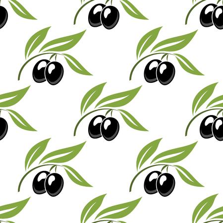 Black olives seamless pattern for nutrition or healthy food concept design Illustration