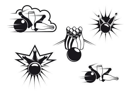 Bowling symbols set isolated on white for sports design Illustration