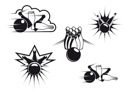 Bowling symbols set isolated on white for sports design Çizim