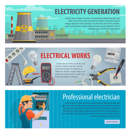 electricity generation and electrician profession banners. Vector design of power plants, electricity repair work tools of socket, electrical wires with lightbulb and light switcher Stock Illustratie