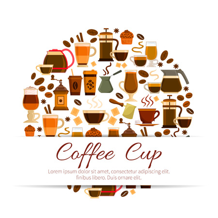 Coffee poster with coffee drinks cups. Hot espresso and creamy latte glass, roasted coffee beans and cinnamon stick with chocolate muffin dessert, coffee mill or grinder and coffee maker for cappuccino or moka. Vector design for cafe, cafeteria Illustration