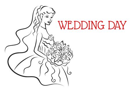 Silhouet van mooie bruid met bloemen in schetsstijl voor ontwerp van huwelijk en huwelijk