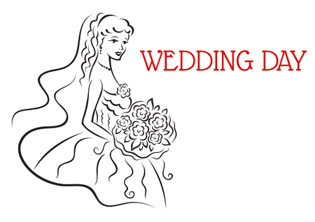 Silhouette of pretty bride with flowers in sketch style for wedding and marriage design