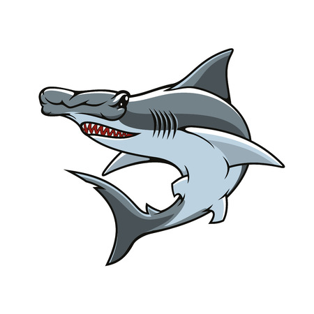 Hammerhead vector icon or mascot. Shark hammer head or winghead isolated symbol of sea or ocean toothed predatory fish with unusual head shape for sport team emblem, fishing sign or fishery industry b