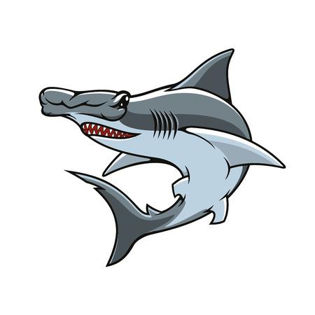 Icône de vecteur Hammerhead ou mascotte. Tête de marteau de requin ou symbole isolé de tête d'aile de poisson prédateur denté de mer ou d'océan avec une forme de tête inhabituelle pour l'emblème de l'équipe sportive, le signe de la pêche ou l'insigne de l'industrie de la pêche