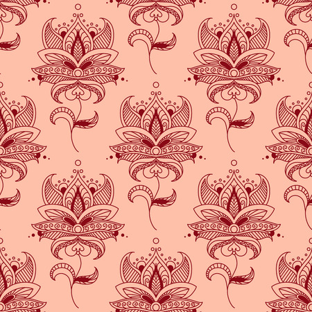 Red paisley seamless pattern on pink background for interior, wallpaper or textile design