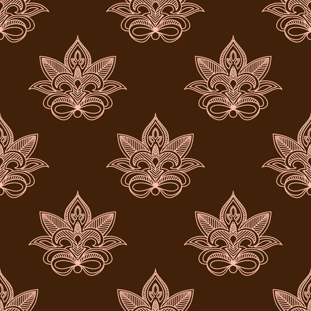 Light and dark brown persian paisley seamless pattern with outline flowers Illustration