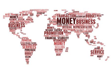 Mots d'affaires dans la carte du monde. Nuage de mots tags concept de budget marketing, stabilité économique financière, prêts d'argent et promotion financière, vente ou achat de bénéfices, marché du travail et du commerce international, production de produits