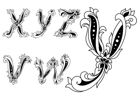 Alphabet letters v,w, x,y,z  in retro style decorated with flowers for any medieval or monogram design Vectores